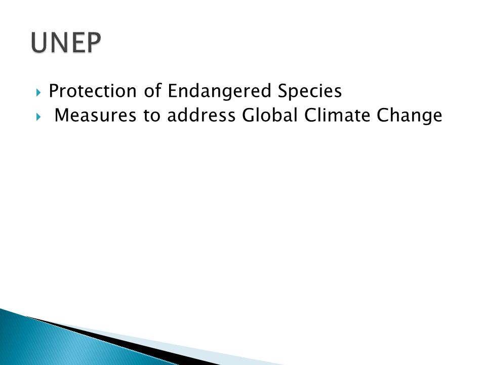  Protection of Endangered Species  Measures to address Global Climate Change