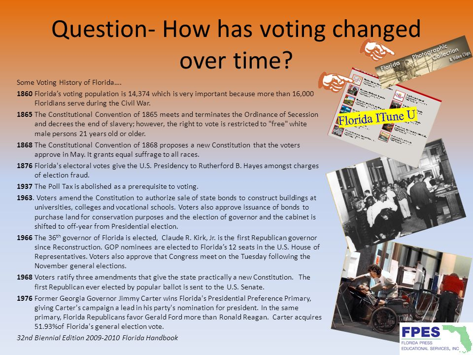 Question- How has voting changed over time? Some Voting History of Florida…. 1860 Florida's voting population is 14,374 which is very important becaus