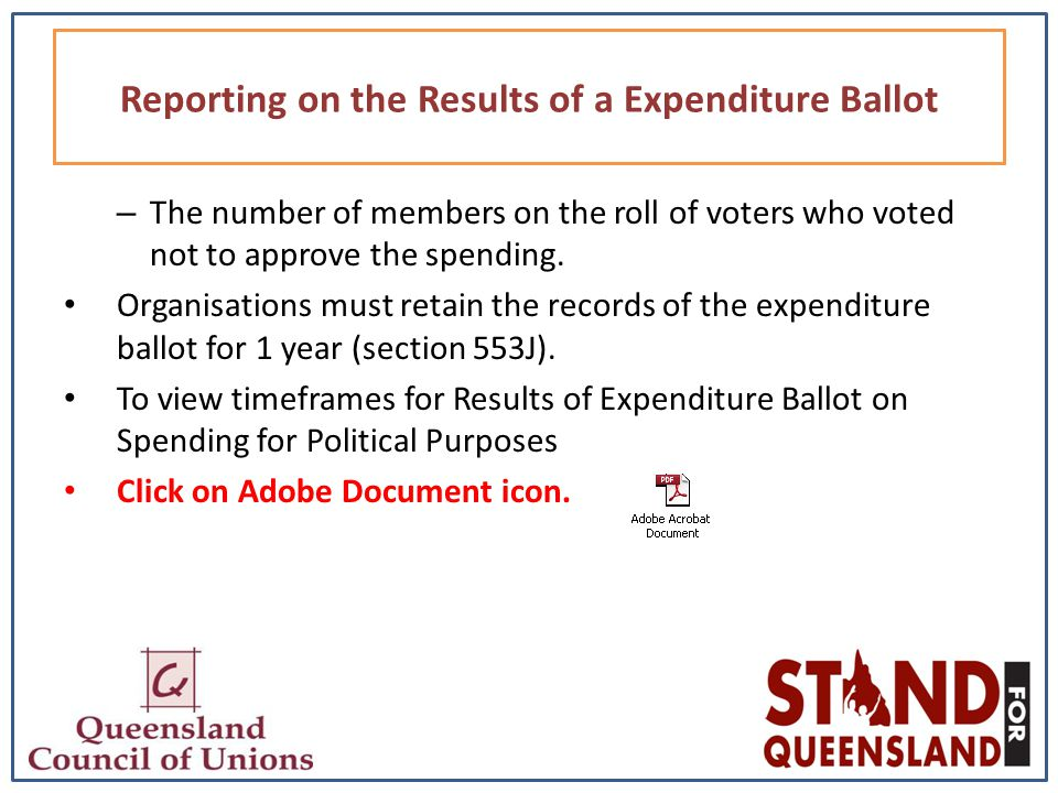 – The number of members on the roll of voters who voted not to approve the spending.