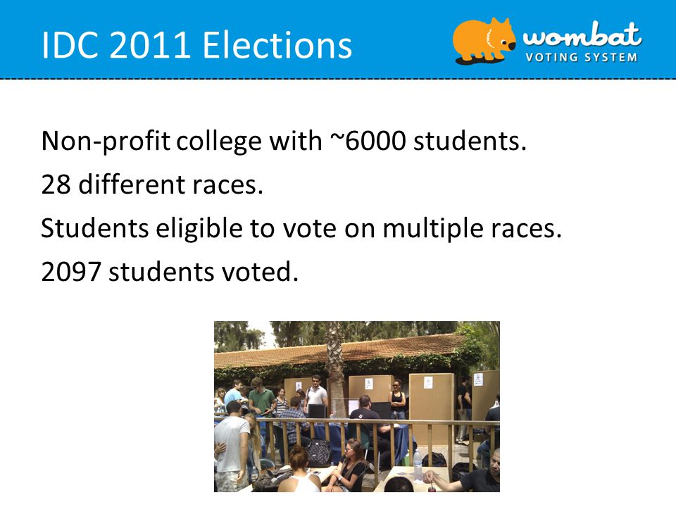 IDC 2011 Elections Non-profit college with ~6000 students. 28 different races. Students eligible to vote on multiple races. 2097 students voted.