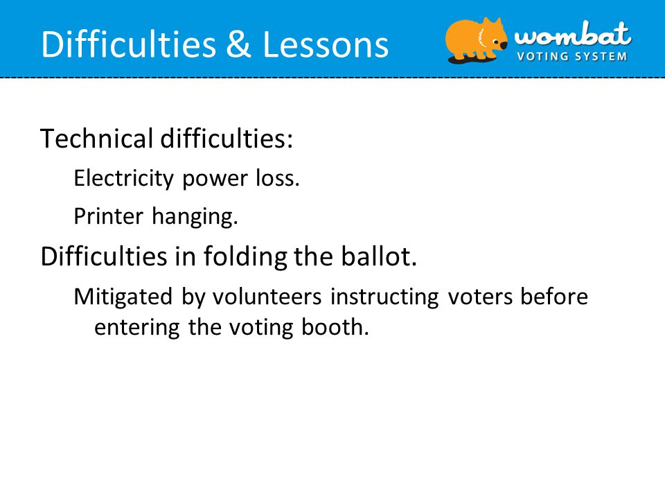 Difficulties & Lessons Technical difficulties: Electricity power loss.