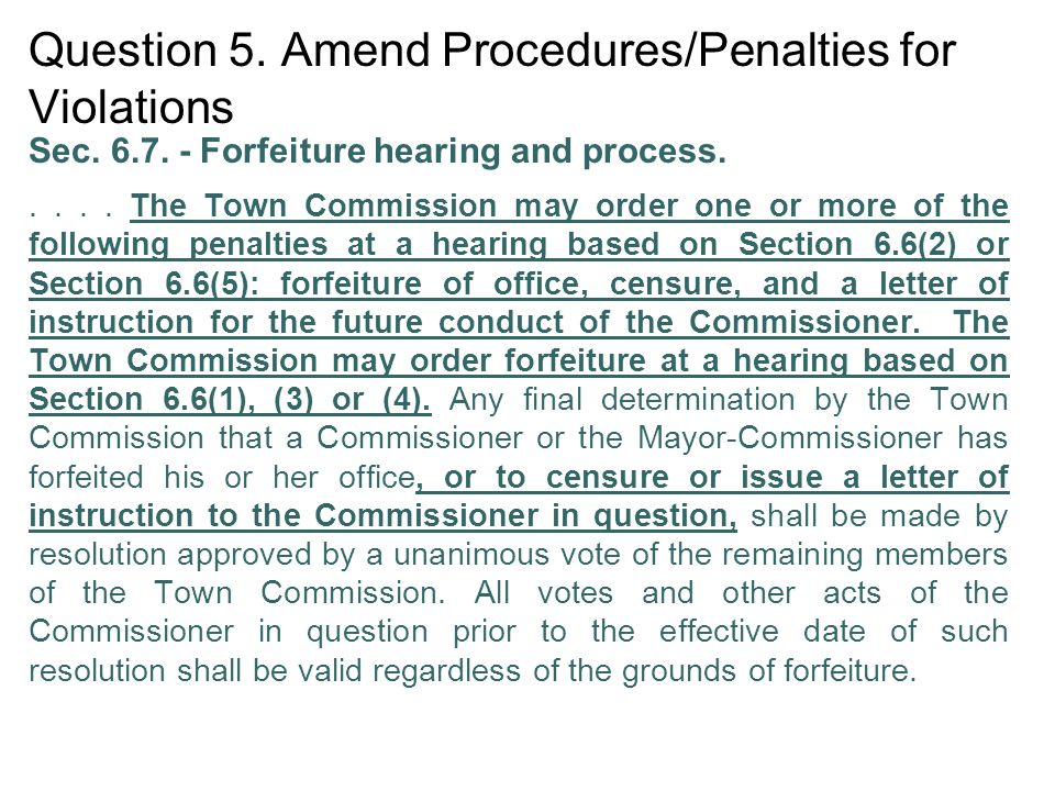 Question 5. Amend Procedures/Penalties for Violations Sec.