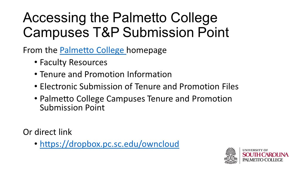 Accessing the Palmetto College Campuses T&P Submission Point From the Palmetto College homepagePalmetto College Faculty Resources Tenure and Promotion Information Electronic Submission of Tenure and Promotion Files Palmetto College Campuses Tenure and Promotion Submission Point Or direct link https://dropbox.pc.sc.edu/owncloud