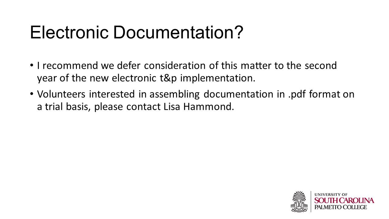 Electronic Documentation.