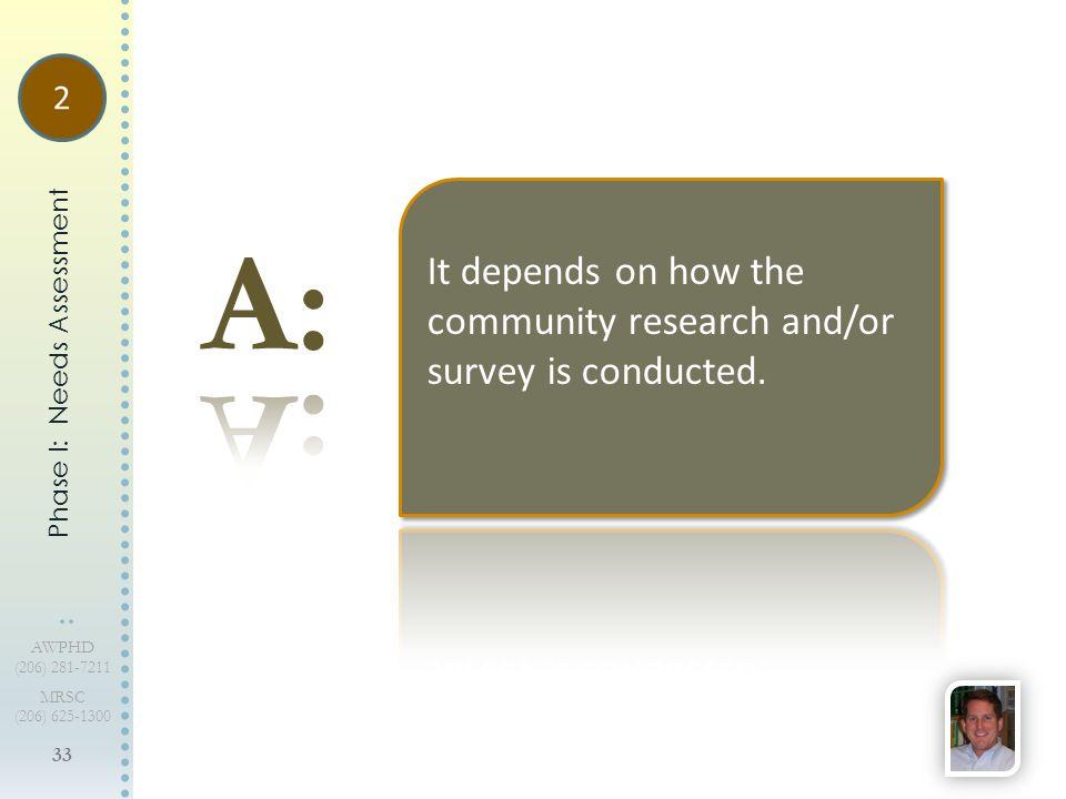 33 AWPHD (206) 281-7211 MRSC (206) 625-1300 Phase I: Needs Assessment