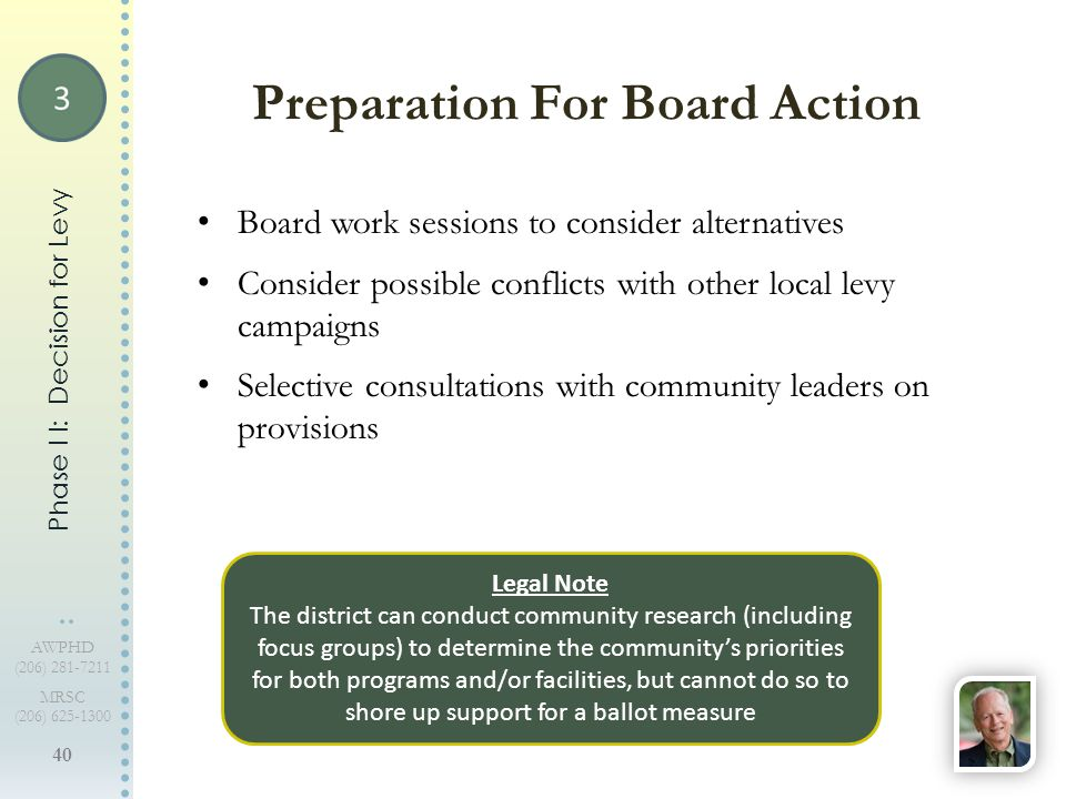 40 AWPHD (206) 281-7211 MRSC (206) 625-1300 Board work sessions to consider alternatives Consider possible conflicts with other local levy campaigns S