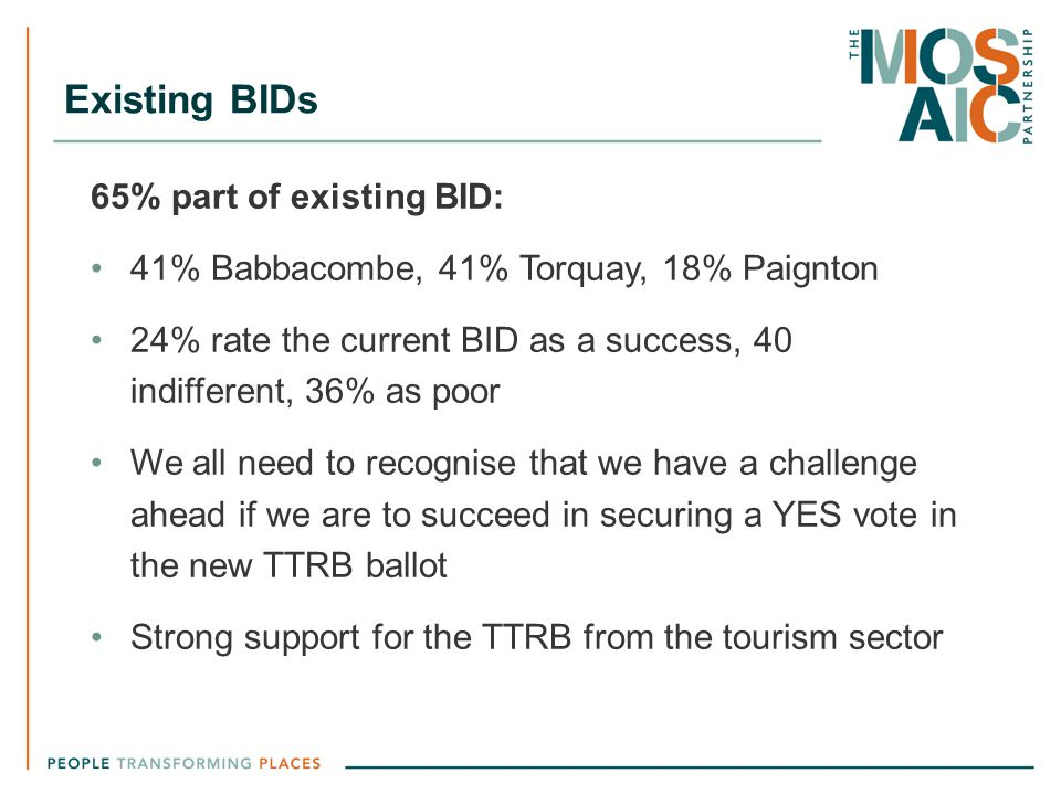 Existing BIDs 65% part of existing BID: 41% Babbacombe, 41% Torquay, 18% Paignton 24% rate the current BID as a success, 40 indifferent, 36% as poor W