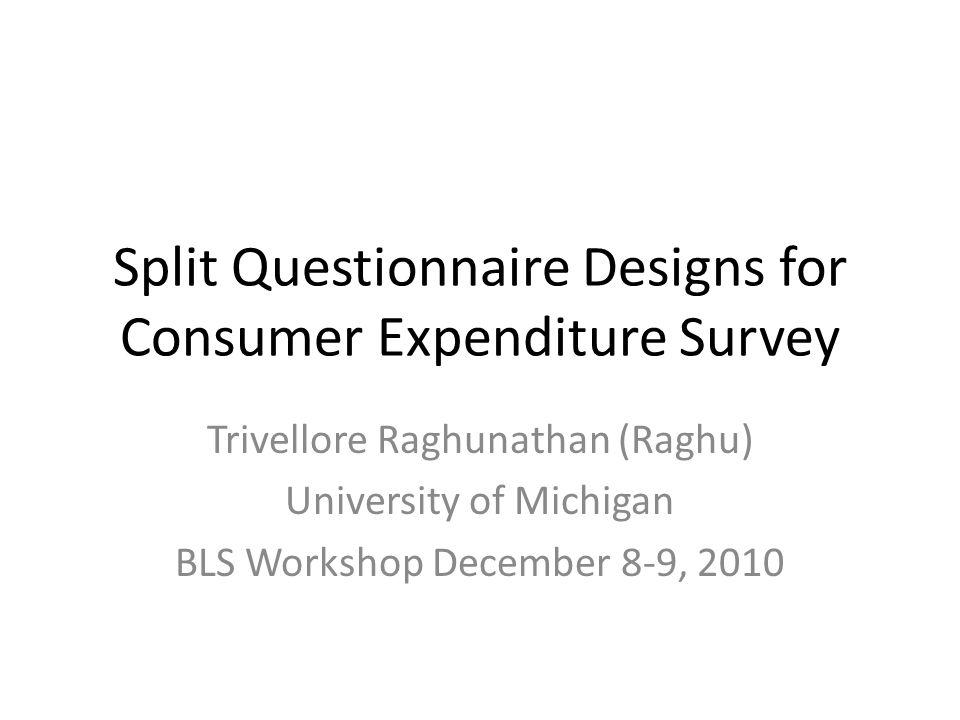 Split Questionnaire Designs for Consumer Expenditure Survey Trivellore Raghunathan (Raghu) University of Michigan BLS Workshop December 8-9, 2010