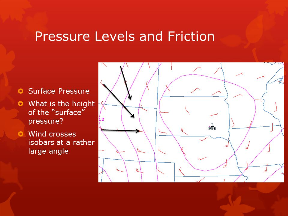 Pressure Levels and Friction  Surface Pressure  What is the height of the surface pressure.