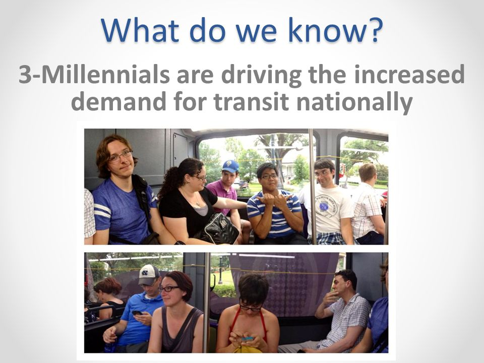 What do we know 3-Millennials are driving the increased demand for transit nationally