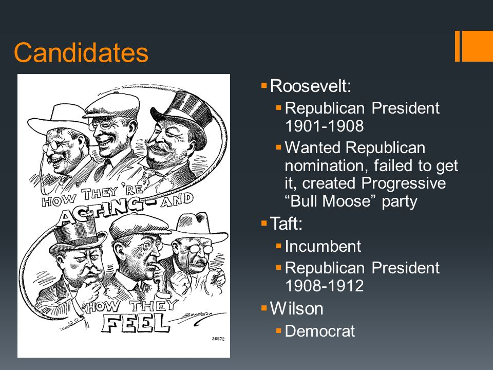 Candidates  Roosevelt:  Republican President 1901-1908  Wanted Republican nomination, failed to get it, created Progressive Bull Moose party  Taft:  Incumbent  Republican President 1908-1912  Wilson  Democrat