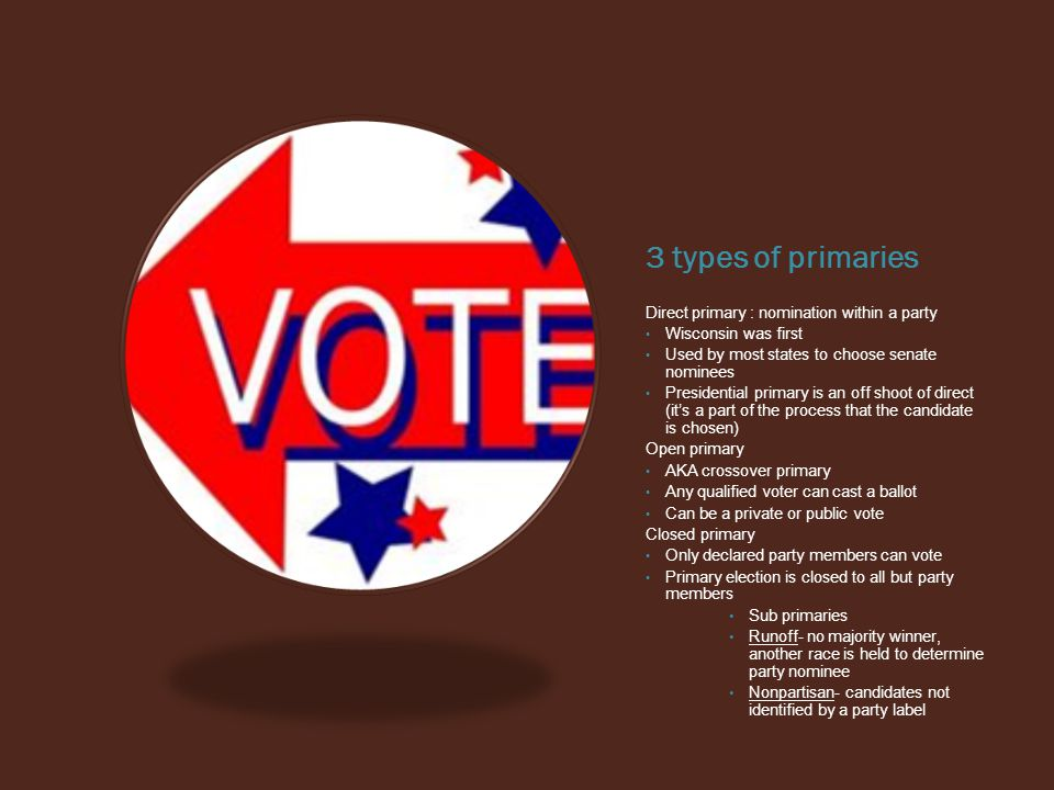 3 types of primaries Direct primary : nomination within a party Wisconsin was first Used by most states to choose senate nominees Presidential primary is an off shoot of direct (it's a part of the process that the candidate is chosen) Open primary AKA crossover primary Any qualified voter can cast a ballot Can be a private or public vote Closed primary Only declared party members can vote Primary election is closed to all but party members Sub primaries Runoff- no majority winner, another race is held to determine party nominee Nonpartisan- candidates not identified by a party label