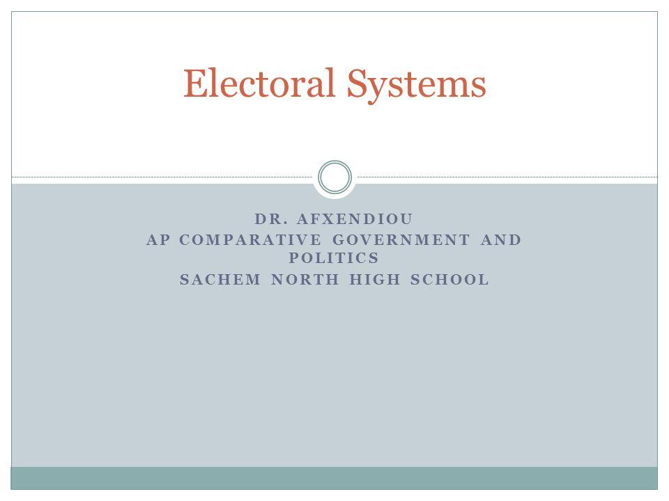 DR. AFXENDIOU AP COMPARATIVE GOVERNMENT AND POLITICS SACHEM NORTH HIGH SCHOOL Electoral Systems