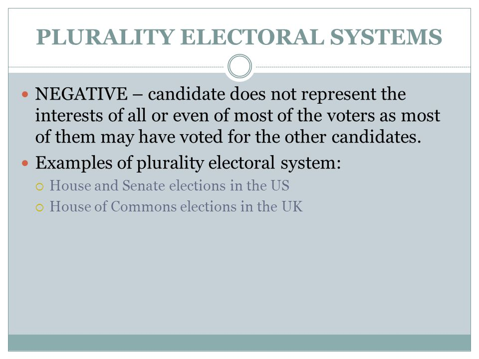 PLURALITY ELECTORAL SYSTEMS NEGATIVE – candidate does not represent the interests of all or even of most of the voters as most of them may have voted