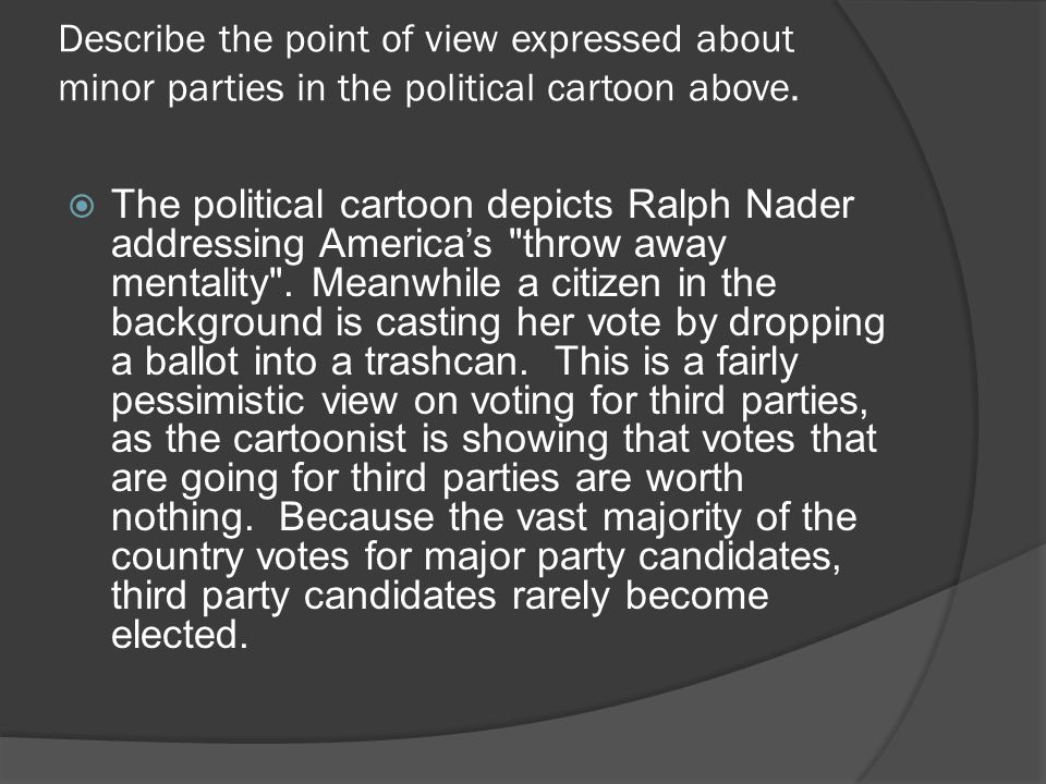 Describe the point of view expressed about minor parties in the political cartoon above.  The political cartoon depicts Ralph Nader addressing Americ