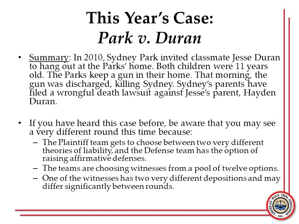 This Year's Case: Park v.