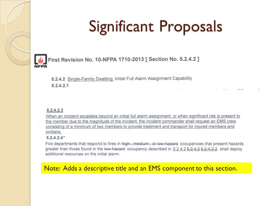 Significant Proposals Note: Adds a descriptive title and an EMS component to this section.