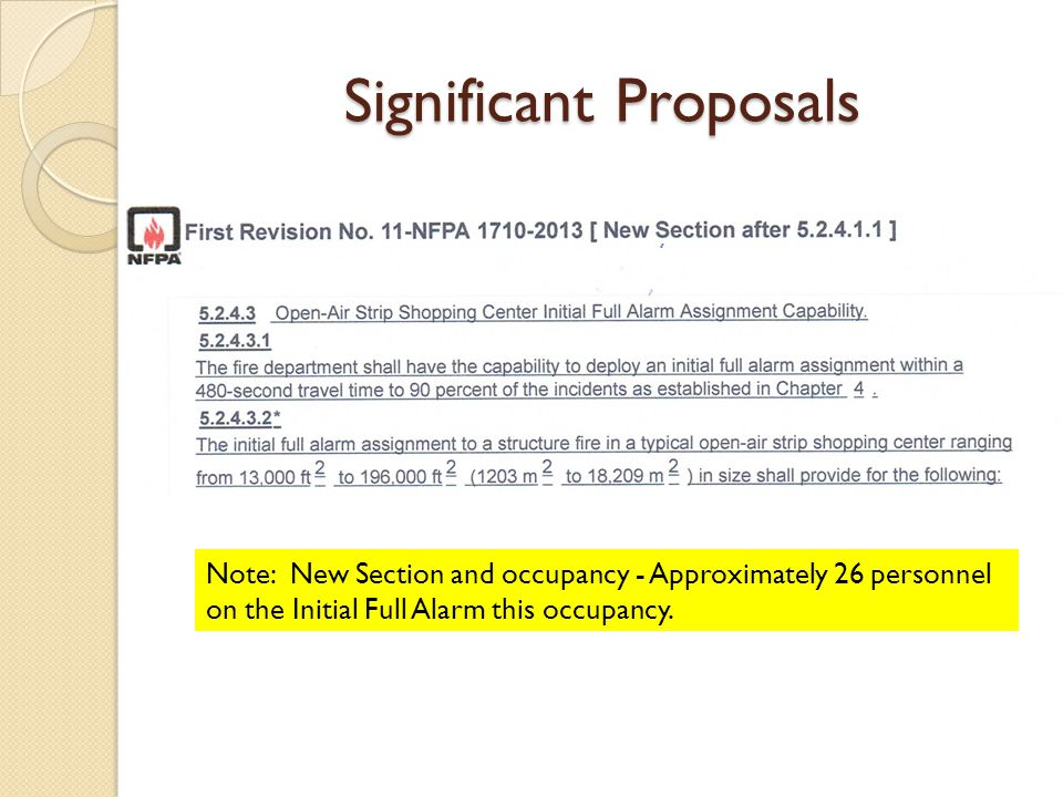Significant Proposals Note: New Section and occupancy - Approximately 26 personnel on the Initial Full Alarm this occupancy.