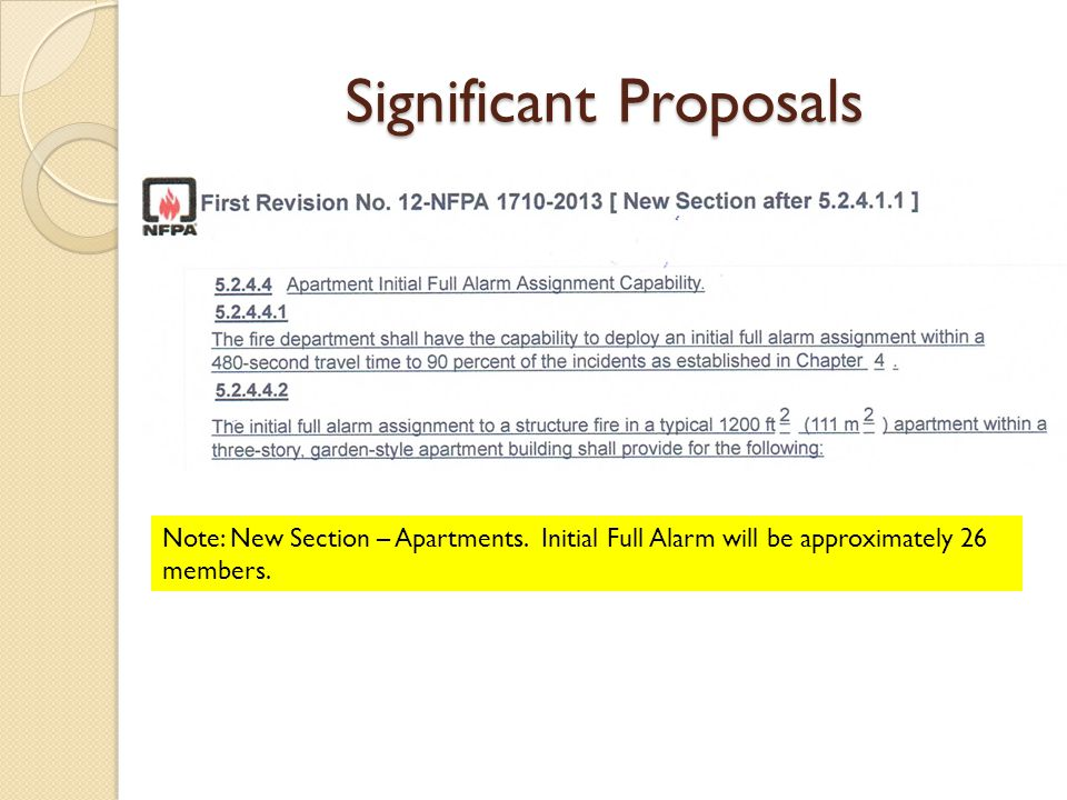 Significant Proposals Note: New Section – Apartments.