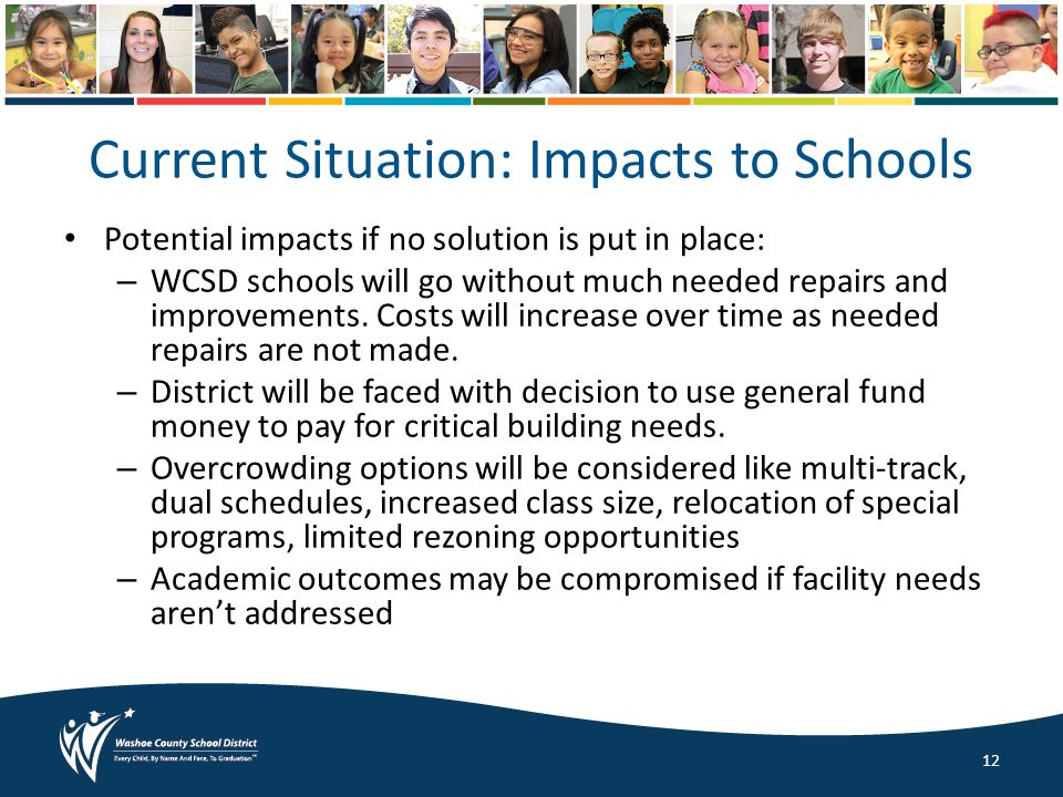 Potential impacts if no solution is put in place: – WCSD schools will go without much needed repairs and improvements.