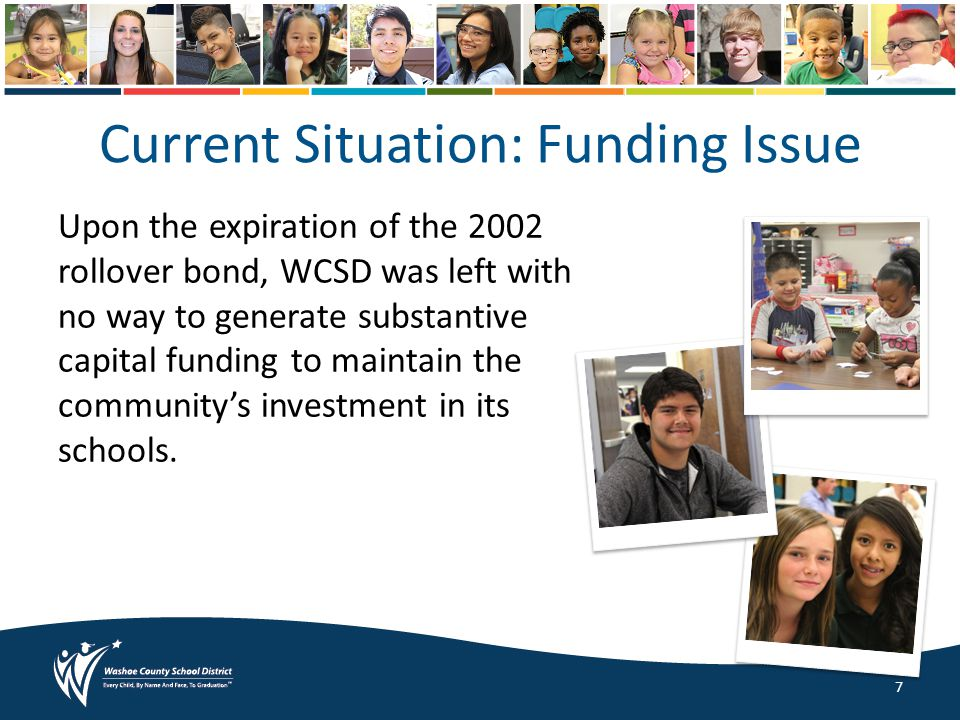 Current Situation: Funding Issue Upon the expiration of the 2002 rollover bond, WCSD was left with no way to generate substantive capital funding to maintain the community's investment in its schools.