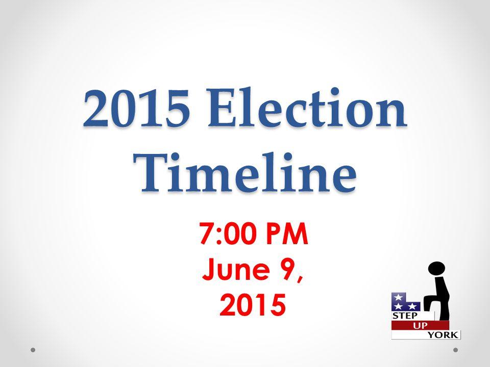 2015 Election Timeline 7:00 PM June 9, 2015