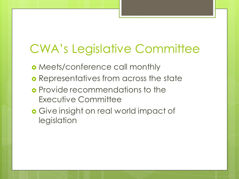 CWA's Legislative Committee  Meets/conference call monthly  Representatives from across the state  Provide recommendations to the Executive Committee  Give insight on real world impact of legislation