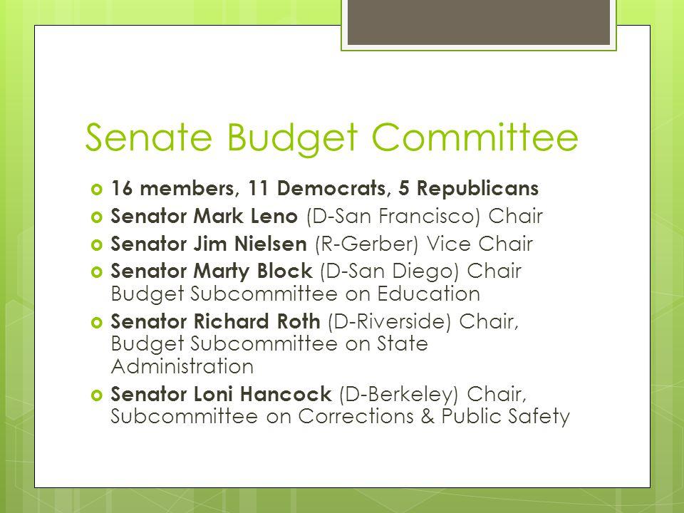 Senate Budget Committee  16 members, 11 Democrats, 5 Republicans  Senator Mark Leno (D-San Francisco) Chair  Senator Jim Nielsen (R-Gerber) Vice Ch