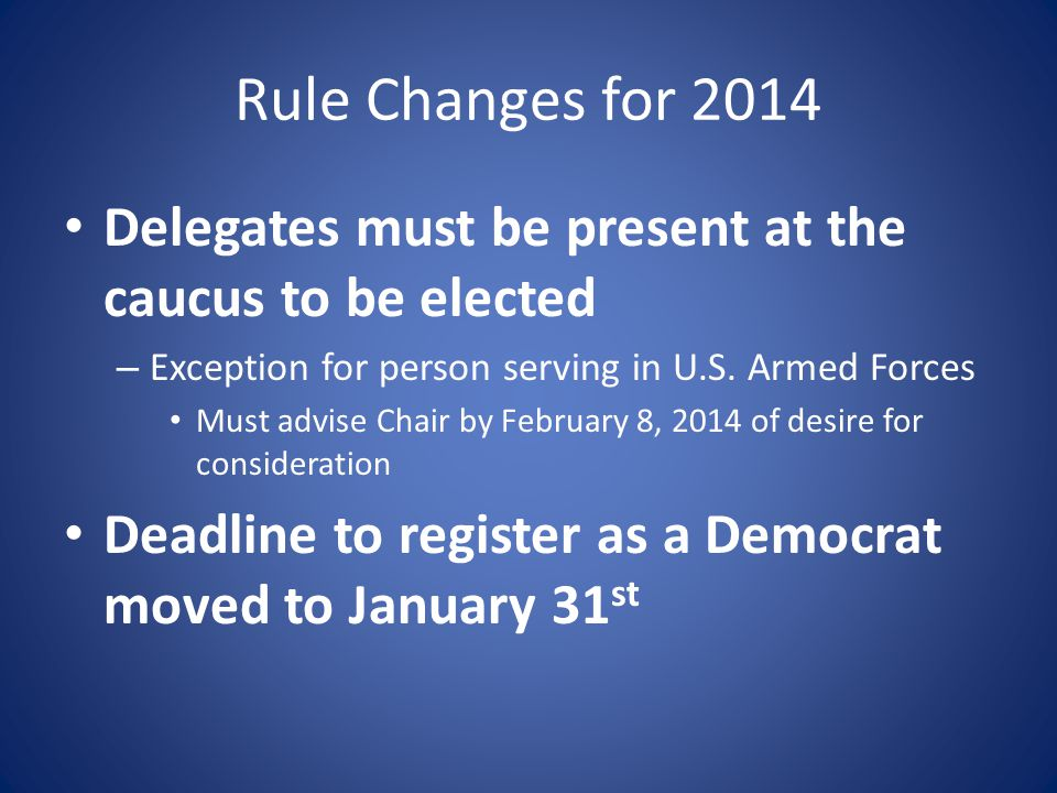 MOST IMPORTANT Read the Method for Selecting Delegates to the 2014 Massachusetts Democratic State Convention These slides are a summary, but many details found in the Method will provide further explanations and solve issues that may arise.