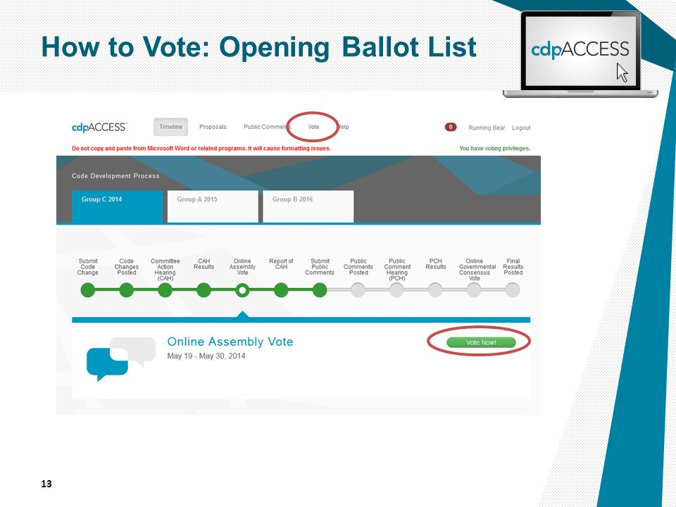13 How to Vote: Opening Ballot List