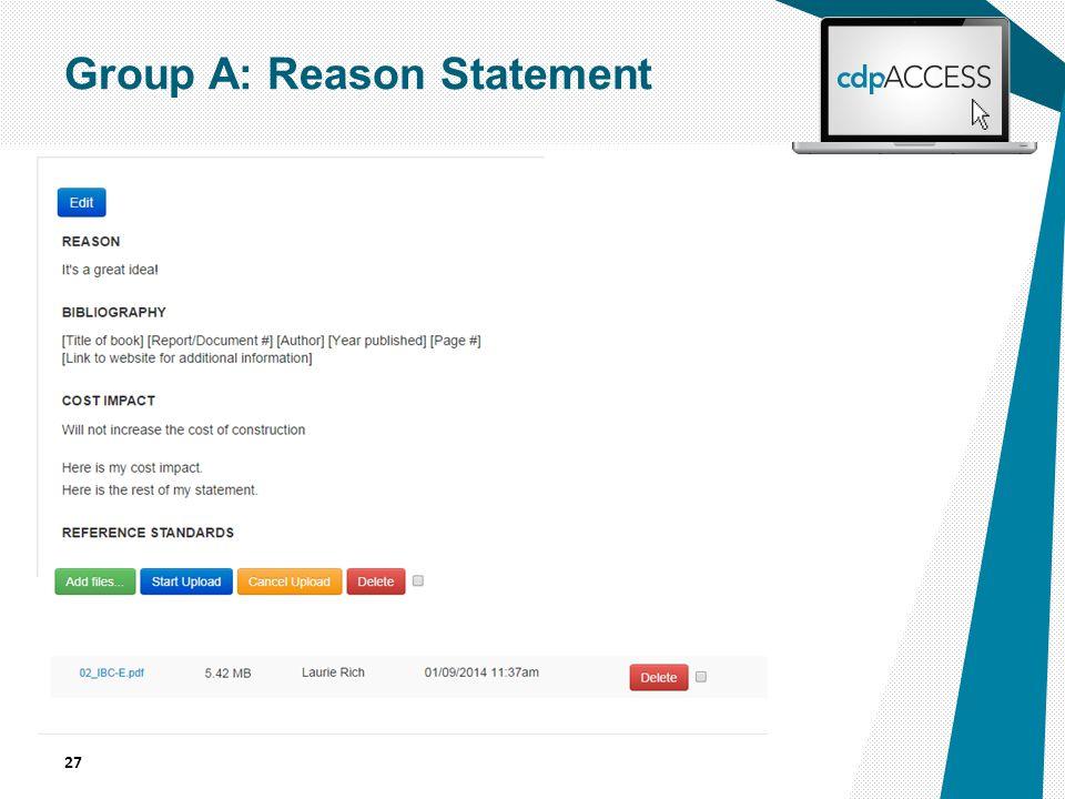 27 Group A: Reason Statement
