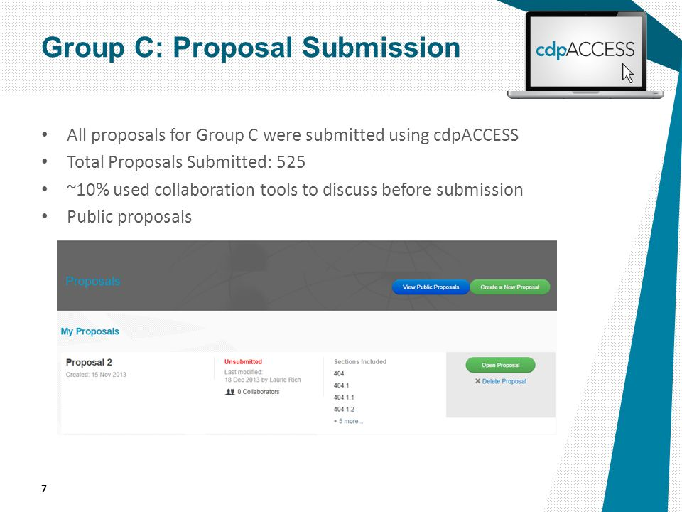 All proposals for Group C were submitted using cdpACCESS Total Proposals Submitted: 525 ~10% used collaboration tools to discuss before submission Public proposals 7 Group C: Proposal Submission