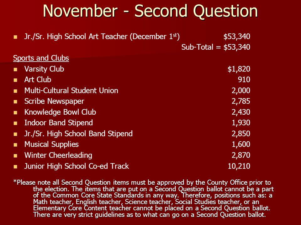 November - Second Question Jr./Sr.
