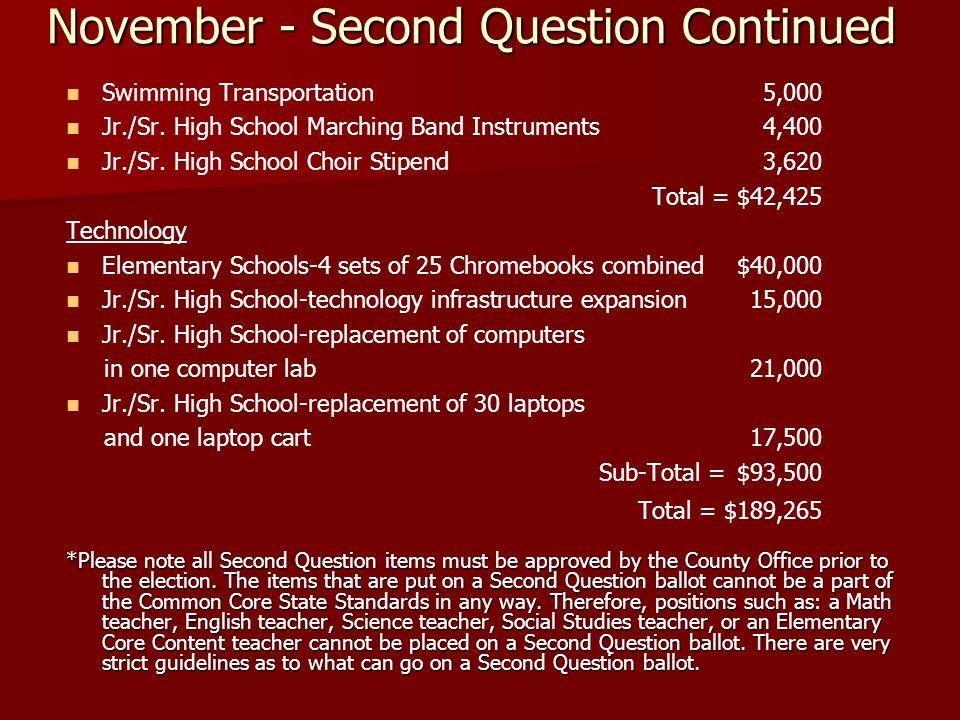 November - Second Question Continued Swimming Transportation 5,000 Jr./Sr.