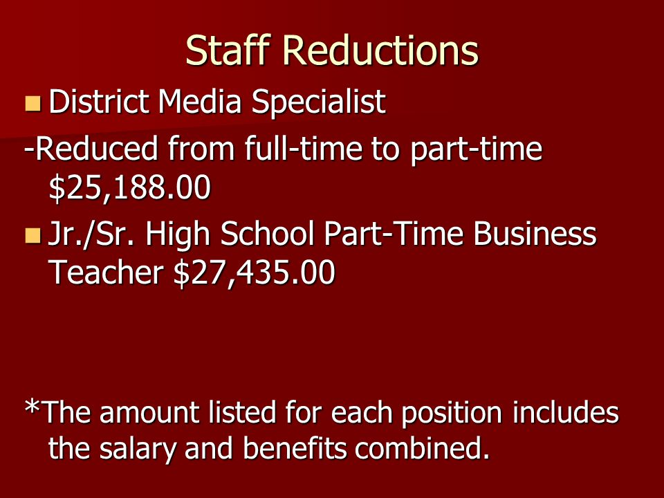 District Media Specialist District Media Specialist -Reduced from full-time to part-time $25,188.00 Jr./Sr.