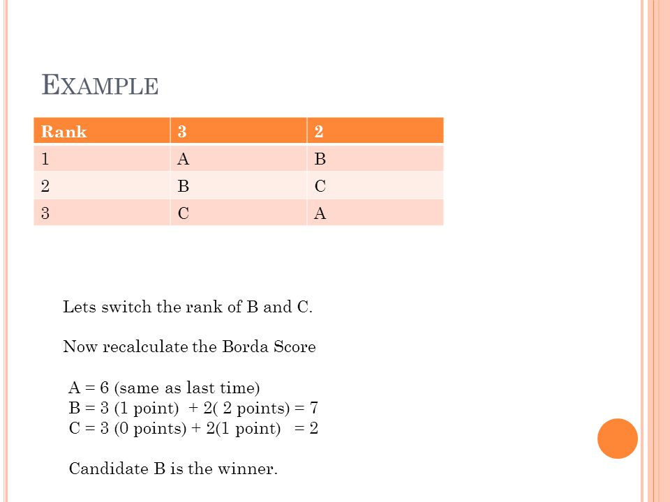 E XAMPLE Rank32 1AB 2BC 3CA Lets switch the rank of B and C.