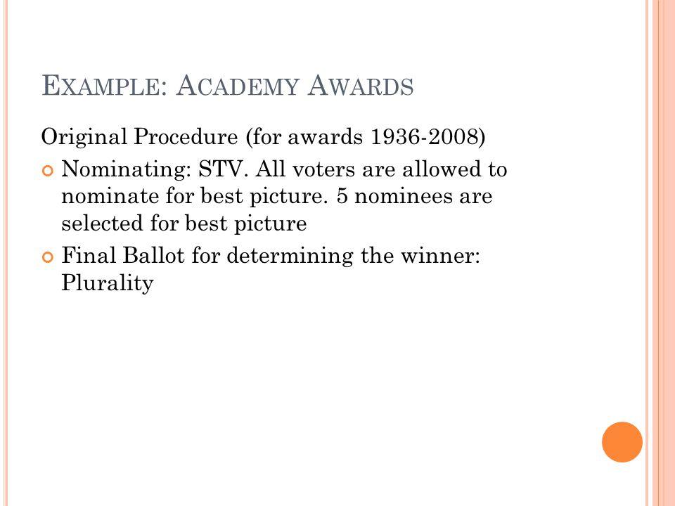 E XAMPLE : A CADEMY A WARDS Original Procedure (for awards 1936-2008) Nominating: STV.