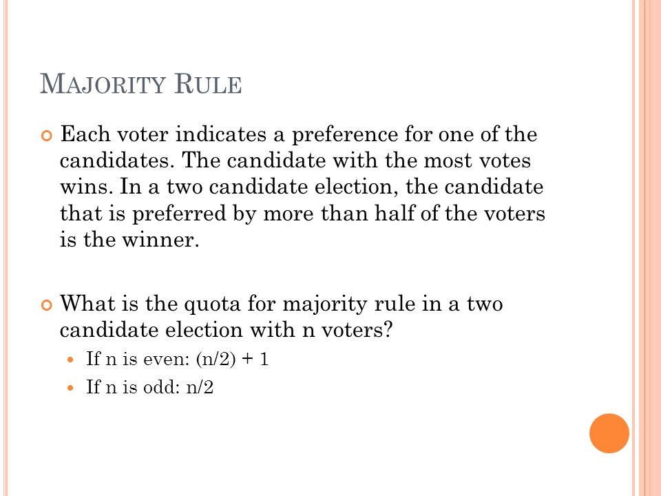 P ARADOX WITH B ORDA S CHEME Fails the Independence of Irrelevant Alternatives (IIA) IIA- a voting system satisfies this criteria if it is impossible for a candidate to move from non- winner to winner unless at least one voter reverses the order in which the candidate was ranked.