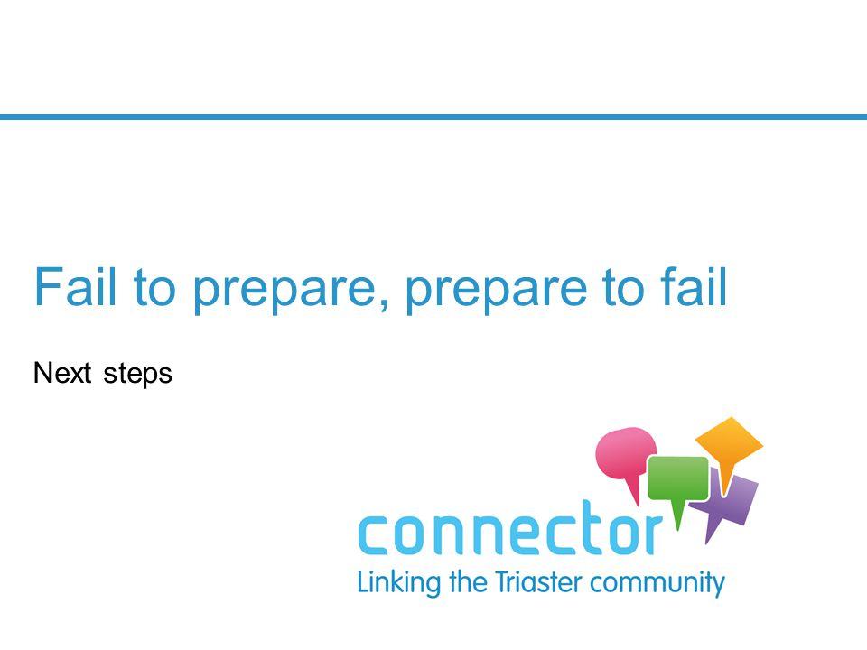 Fail to prepare, prepare to fail Next steps