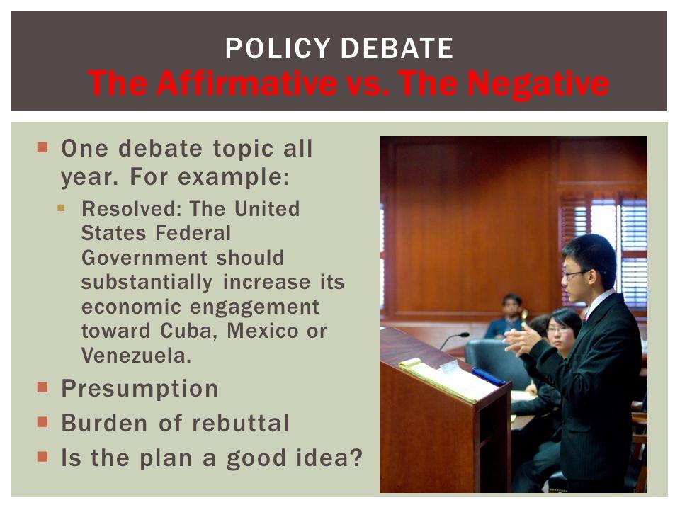  One debate topic all year.