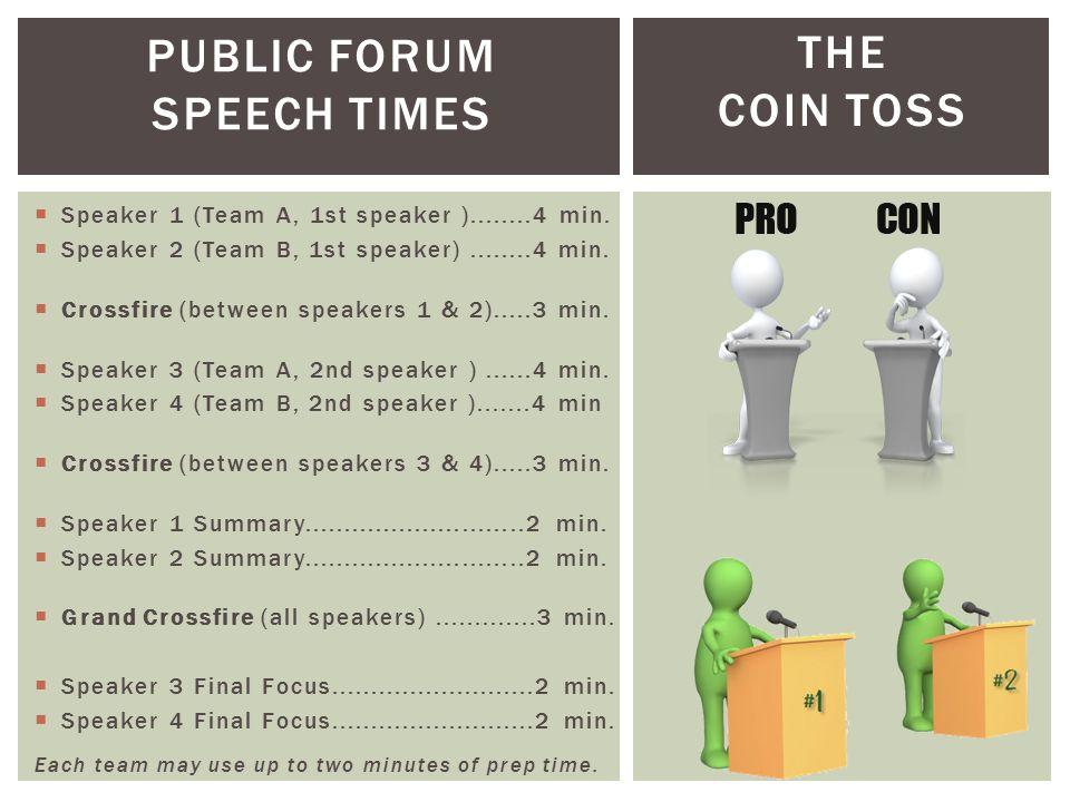 PUBLIC FORUM SPEECH TIMES THE COIN TOSS  Speaker 1 (Team A, 1st speaker )........4 min.