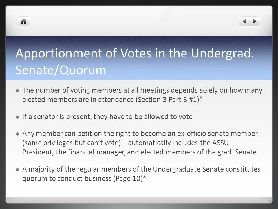 Apportionment of Votes in the Undergrad.