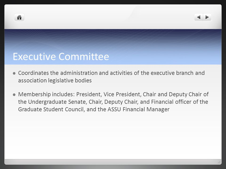 Executive Committee Coordinates the administration and activities of the executive branch and association legislative bodies Membership includes: Pres