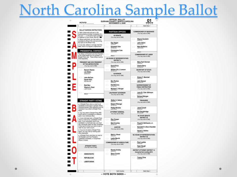 North Carolina Sample Ballot North Carolina Sample Ballot