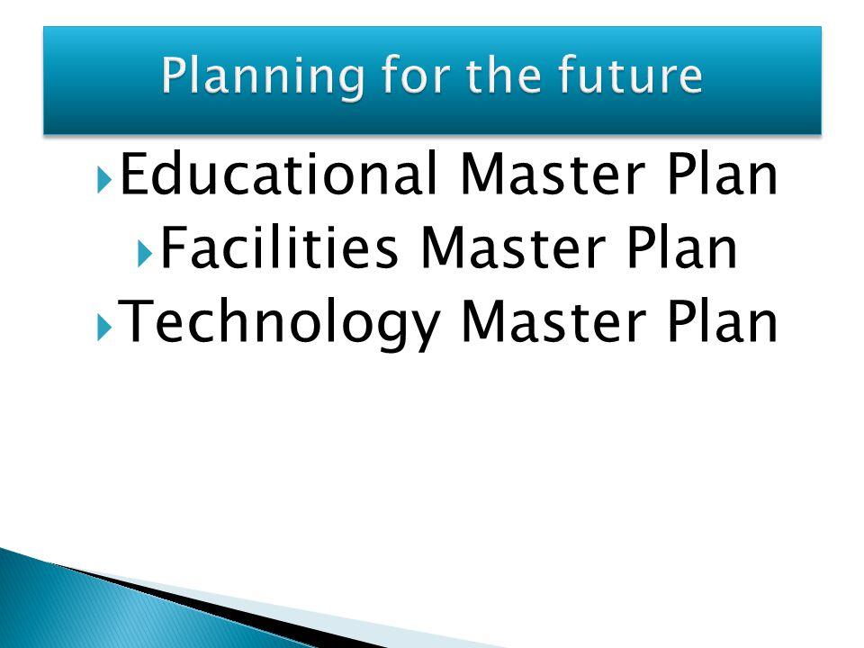  Educational Master Plan  Facilities Master Plan  Technology Master Plan