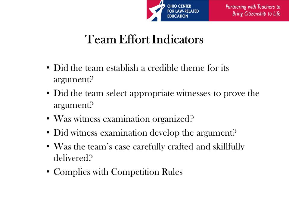 Team Effort Indicators Did the team establish a credible theme for its argument.