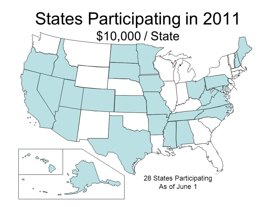 States Participating in 2011 $10,000 / State 28 States Participating As of June 1
