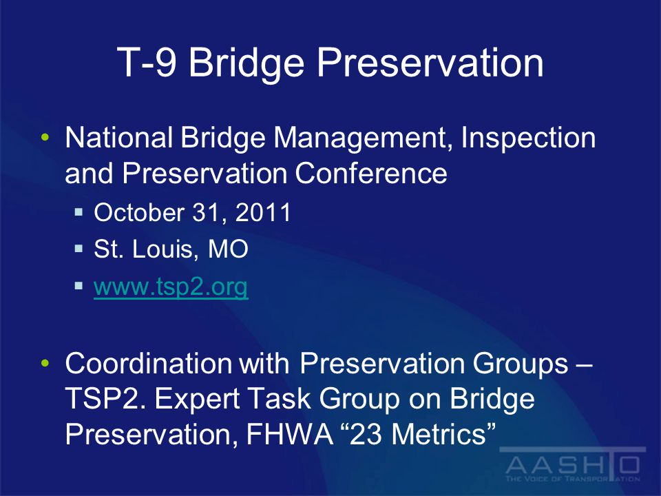 T-9 Bridge Preservation National Bridge Management, Inspection and Preservation Conference  October 31, 2011  St.