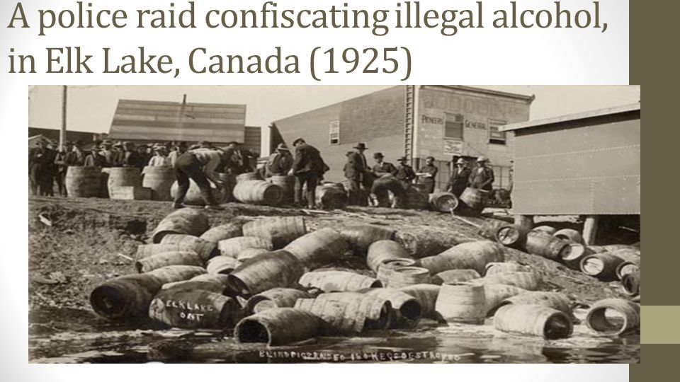 A police raid confiscating illegal alcohol, in Elk Lake, Canada (1925)