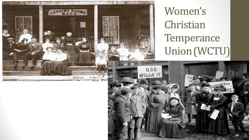 Prohibition in Canada Effects of alcohol become focus of three temperance groups: Woman s Christian Temperance Union of Canada United Farm Women of Alberta Dominion Alliance for the Total Suppression of the Liquor Traffic Believed that poverty, crime, disease and domestic abuse would stop if alcohol was made illegal.